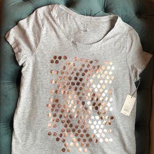 NWT Grey Copper Metallic Dot A New Day Tshirt Tee